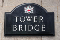 Tower bridge sign Royalty Free Stock Images