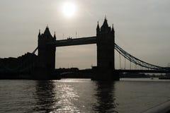 Tower Bridge silhouette, uk,england Stock Photos