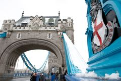 Tower Bridge with snow, London, UK Stock Images