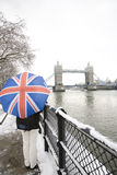 Tower Bridge on a snowy day Royalty Free Stock Photo