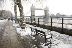 Tower Bridge on a snowy day Royalty Free Stock Photography