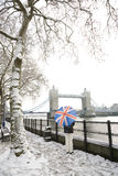 Tower Bridge on a snowy day Royalty Free Stock Image