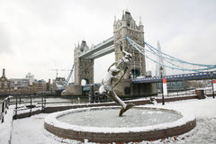 Tower Bridge on a snowy day Stock Image