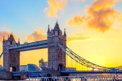 Tower Bridge and St. Katharine Pier At Dusk, London, UK. Sunset at Tower Bridge and St. Katharine Pier in London, United Kingdom stock photo