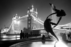 Tower Bridge and statue Stock Photography