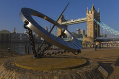 Tower Bridge and the Sun Dial Royalty Free Stock Image