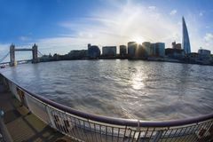Tower Bridge at sunny day, fish eye lens. Royalty Free Stock Photos