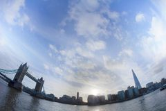 Tower Bridge at sunny day, fish eye lens Royalty Free Stock Images
