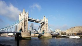Tower Bridge in a sunny day, pan stock video