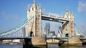 Tower Bridge in a sunny day, zoom in stock footage