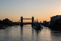 Tower Bridge at sunrise in London stock photography