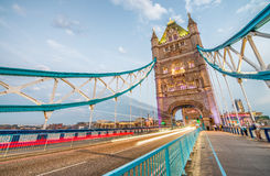 The Tower Bridge after sunset, London Royalty Free Stock Image