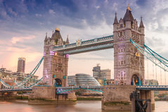 The Tower Bridge at sunset wity London riverside on background Stock Images