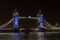 Tower Bridge, suspension bridge in London. Tower Bridge is a combined bascule and suspension bridge in London built between 1886 and 1894. The bridge crosses the Royalty Free Stock Photography