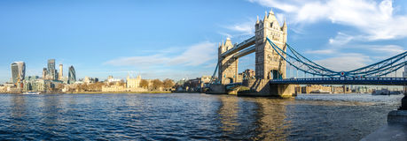 Tower Bridge and Thames. Panorama of Tower Bridge at river Thames, London, UK Royalty Free Stock Images