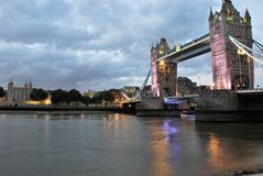 Tower Bridge and Thames River in London stock images