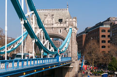 Tower Bridge and tourist in the morning in London, UK Stock Photos