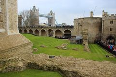 Tower Bridge and Tower of London. Tower Bridge through the ruins of Tower of London Stock Photo