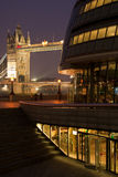 Tower bridge and town hall at night. With flood light royalty free stock photos