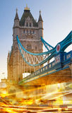 Tower bridge with traffic lights Royalty Free Stock Photos