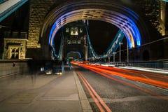 Tower Bridge Traffic Night Time Long Exposure Royalty Free Stock Images