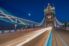 Tower Bridge. Traffic over Tower Bridge in London, England Stock Image