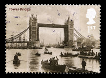 Tower Bridge UK Postage Stamp. UNITED KINGDOM - 2002: A Postage Stamp from the UK containing a vintage image of Tower Bridge in London, circa 2002 stock photo