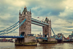Tower Bridge under cloudy sky. Royalty Free Stock Photo