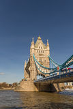 Tower Bridge, vertical shot with the river and a blue sky. Royalty Free Stock Photos