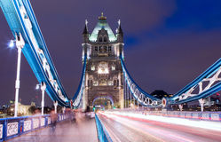 Tower Bridge. A view from the Tower Bridge in London at night royalty free stock photography