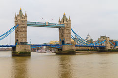 Tower Bridge view on rainy day, London Royalty Free Stock Photos