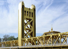 Tower Bridge. View of the western tower of Sacramento Tower Bridge from old town main street Royalty Free Stock Photos