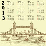 Tower bridge vintage 2013 calendar. 2013 calendar with vintage hand drawn illustration of famous tourist destination tower bridge of london Royalty Free Stock Photos