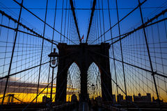 Tower of Brooklyn bridge New York city Royalty Free Stock Images