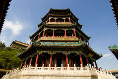 The Tower of Buddhist Incense. Is the highest building in the Summer Palace(YiheYuan) Beijing, China. The Summer Palace is the best preserved imperial garden Royalty Free Stock Photos
