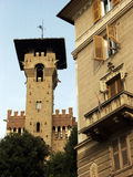 Tower and building in Genova city center with  traditional architecture,Italy Stock Photos