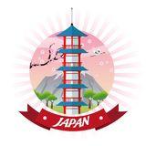 Tower japan culture design. Tower building mountain trees japan culture landmark asia famous icon. Colorful design. Vector illustration Stock Photo