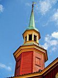 Tower  on a Building. This is a tower turret on a wood building in a town in Norway on beautiful day Royalty Free Stock Photo