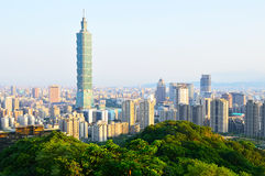 101 Tower and buildings in Taipei, Taiwan Stock Photos
