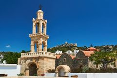 Tower of the Byzantine church and the ruins of the medieval castle. In Asklipio on the island of Rhodes royalty free stock photo