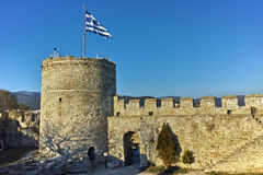 Tower of the Byzantine fortress in Kavala, East Macedonia and Thrace Stock Photo