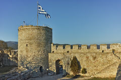 Tower of the Byzantine fortress in Kavala, Greece Stock Images