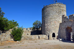 Tower of the Byzantine fortress in Kavala, Greece Royalty Free Stock Photography