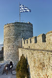 Tower of the Byzantine fortress in Kavala, Greece. Tower of the Byzantine fortress in Kavala, East Macedonia and Thrace, Greece stock photography