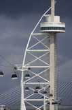 Tower and cableway. Vasco de Gama Tower and cableway in Park Nations, Expo 98, Lisbon, Portugal Stock Image