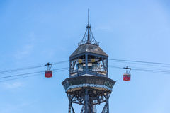Tower cableway in Barcelona Stock Photo