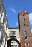 Tower called Tower of Torment in Piazza delle Erbe in Vicenza in Stock Images