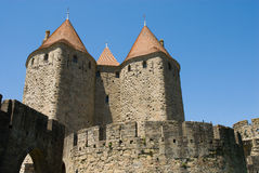 Tower of carcassonne chateau. Carcassone is a fortified chateau in Aude south france. It is a maximal chateau at EURO Royalty Free Stock Images