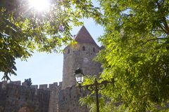 Tower of carcassonne city and a lamppost Royalty Free Stock Photo