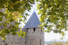 Tower of Carcassonne city with some trees Royalty Free Stock Photo